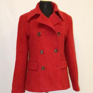 CALVIN KLEIN Red Wool Double Breast Pea Coat